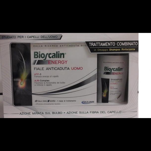 BIOSCALIN ENERGY ANTICADUTA UOMO 10 FIALE (+ in omaggio shampoo fortificante rivitalizzante 100 ml)