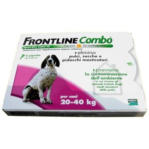 Frontline combo antiparassitario per cani da 20-40kg (3 pipette)