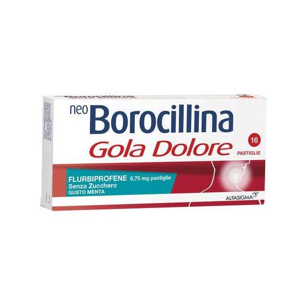 Neoborocillina Gola Dolore 16 Pastiglie 8,75mg Gusto Menta Senza Zucchero
