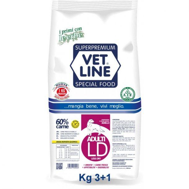 Vet Line Less Dry Agnello per Adulti (formato promozione: 3Kg+1Kg omaggio)